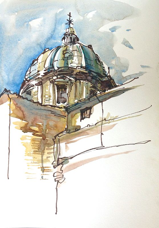 Impressions Of Italy Domes Everywhere Watercolor Architecture
