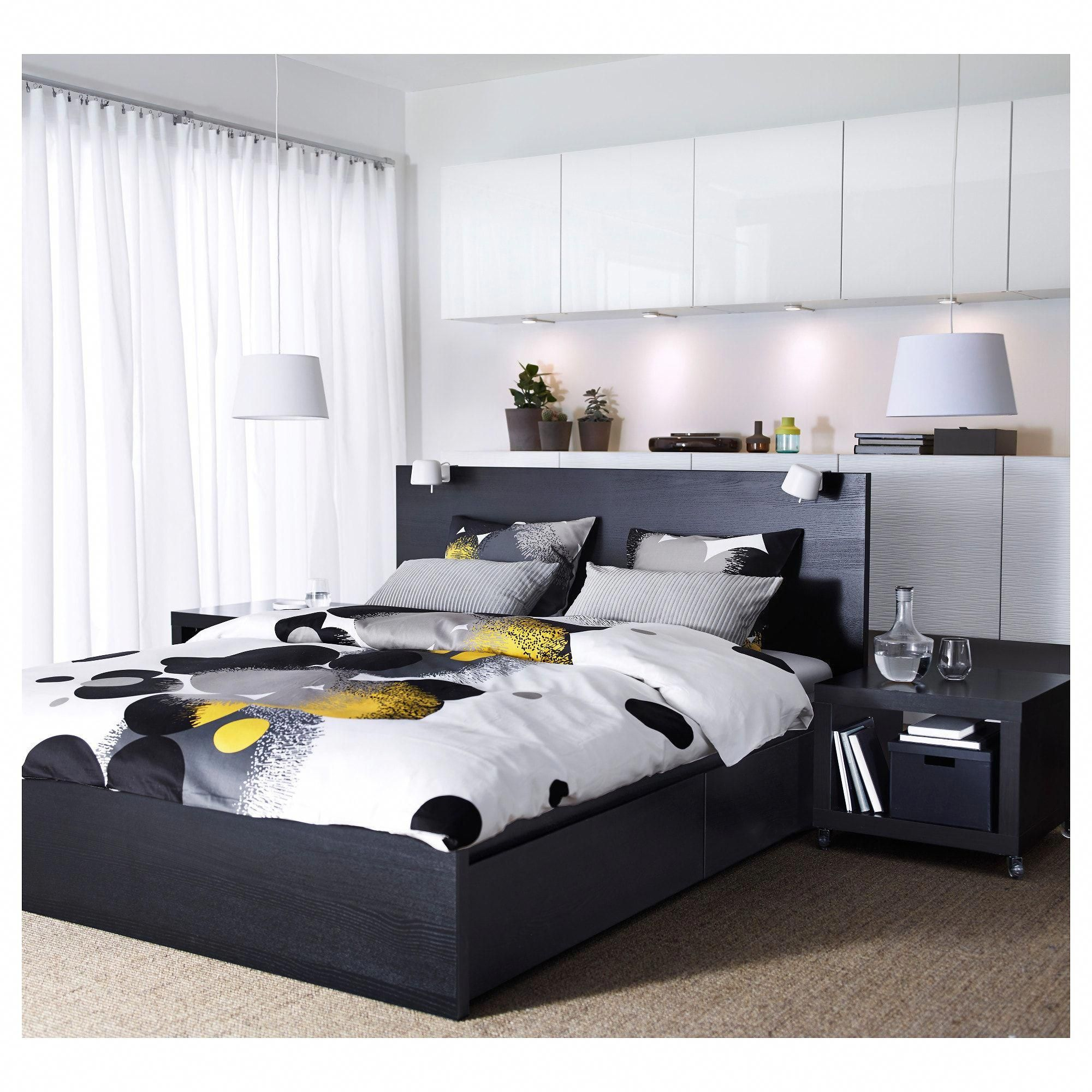 IKEA MALM BlackBrown, Luröy High bed frame/4 storage