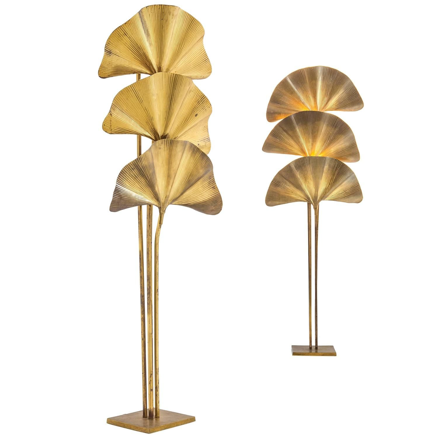 Tommaso Barbi, Pair of Golden and Hammered Brass Lamps, circa 1970, Italy | From a unique collection of antique and modern floor lamps at https://www.1stdibs.com/furniture/lighting/floor-lamps/