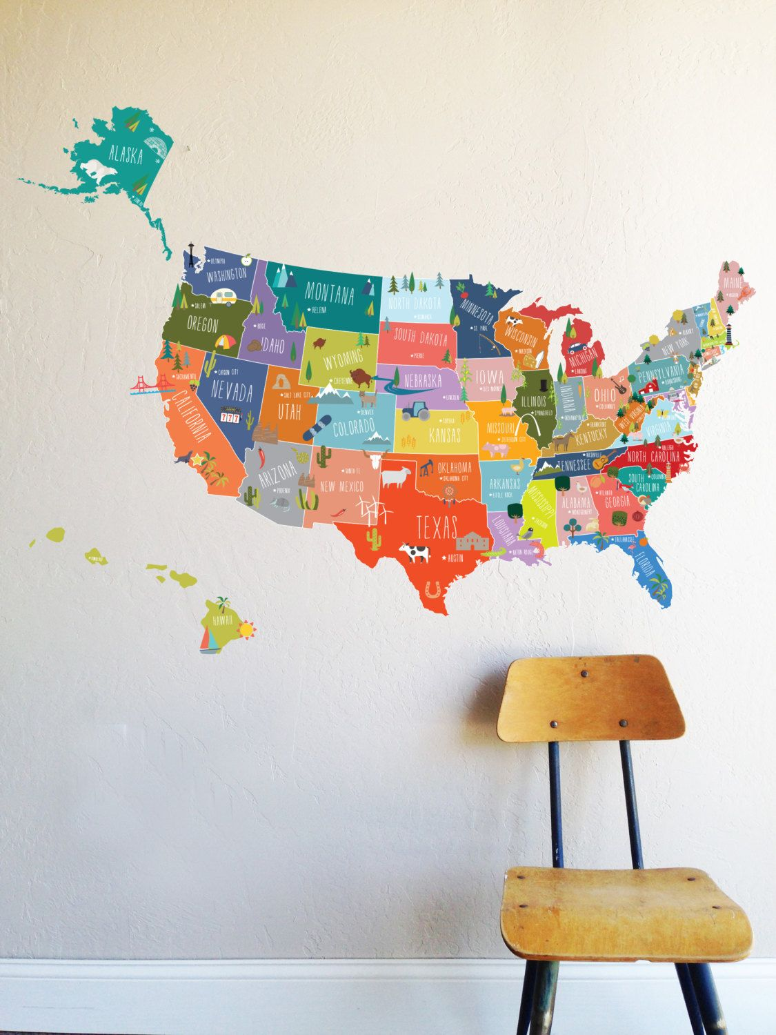 Wall Decal Bright USA Map Map Wall Decor Removable Wall - Us map wall decal