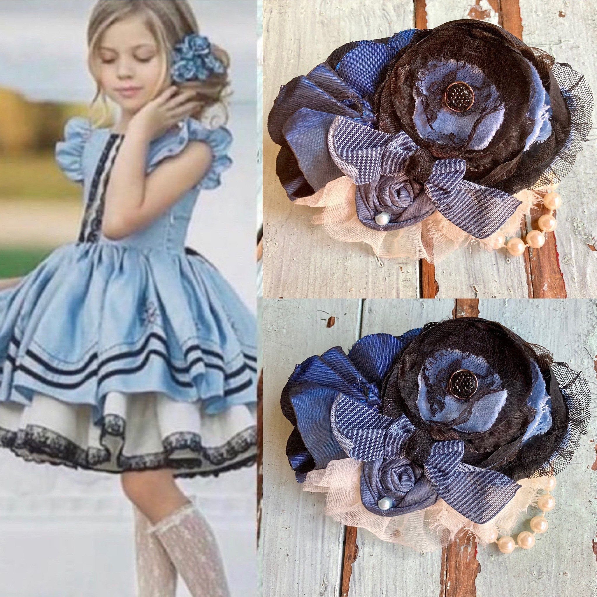 Girls Lace Flower Hair Clip m2m Dollcake Clothing Pink and Blue Vintage Baby Headband Dusty Pink /& Dusty Blue Floral Headband Ivory