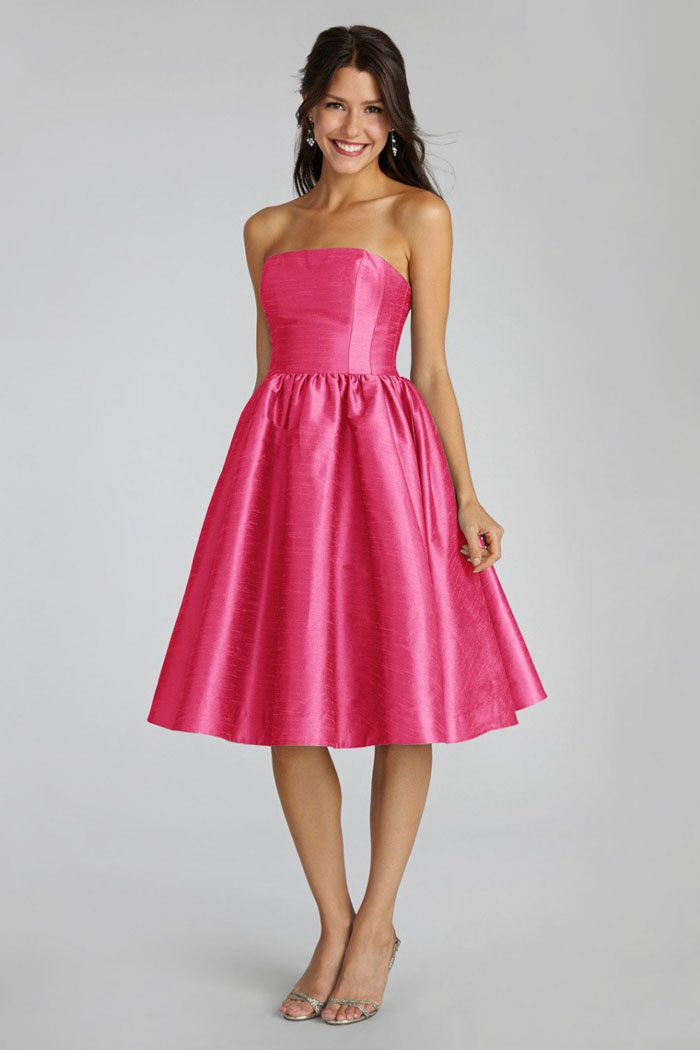 Strapless Pink Navy White Knee Length Fuchsia Sleeveless Ruched ...