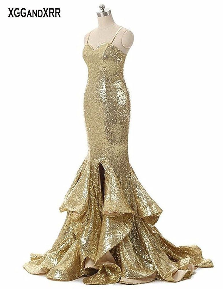 Hot Sale Golden Mermaid Prom Dresses 2018 Evening Dress Long Sweetheart  Spaghett  fashion  clothing  shoes  accessories  weddingformaloccasion ... 4df0662f69de