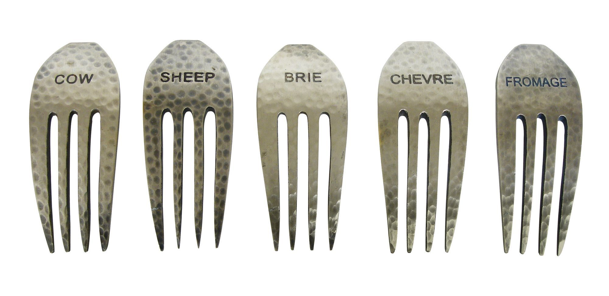 Rustic 5 Piece Cheese Fork Marker Set