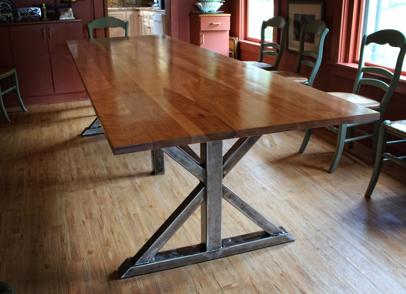 Custom Made Birch And Steel Trestle Dining Table Rustic Kitchen
