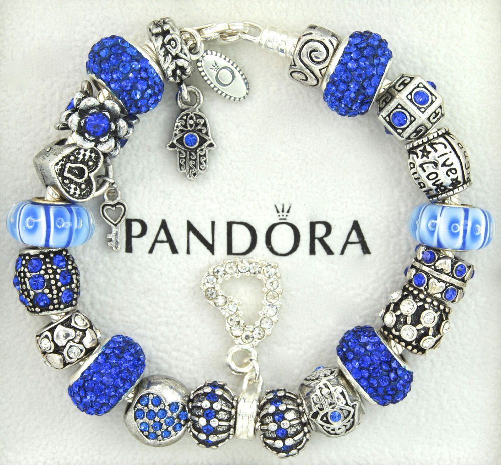 Authentic Pandora Silver Charm Bracelet With Charms Blue Hamsa Luck