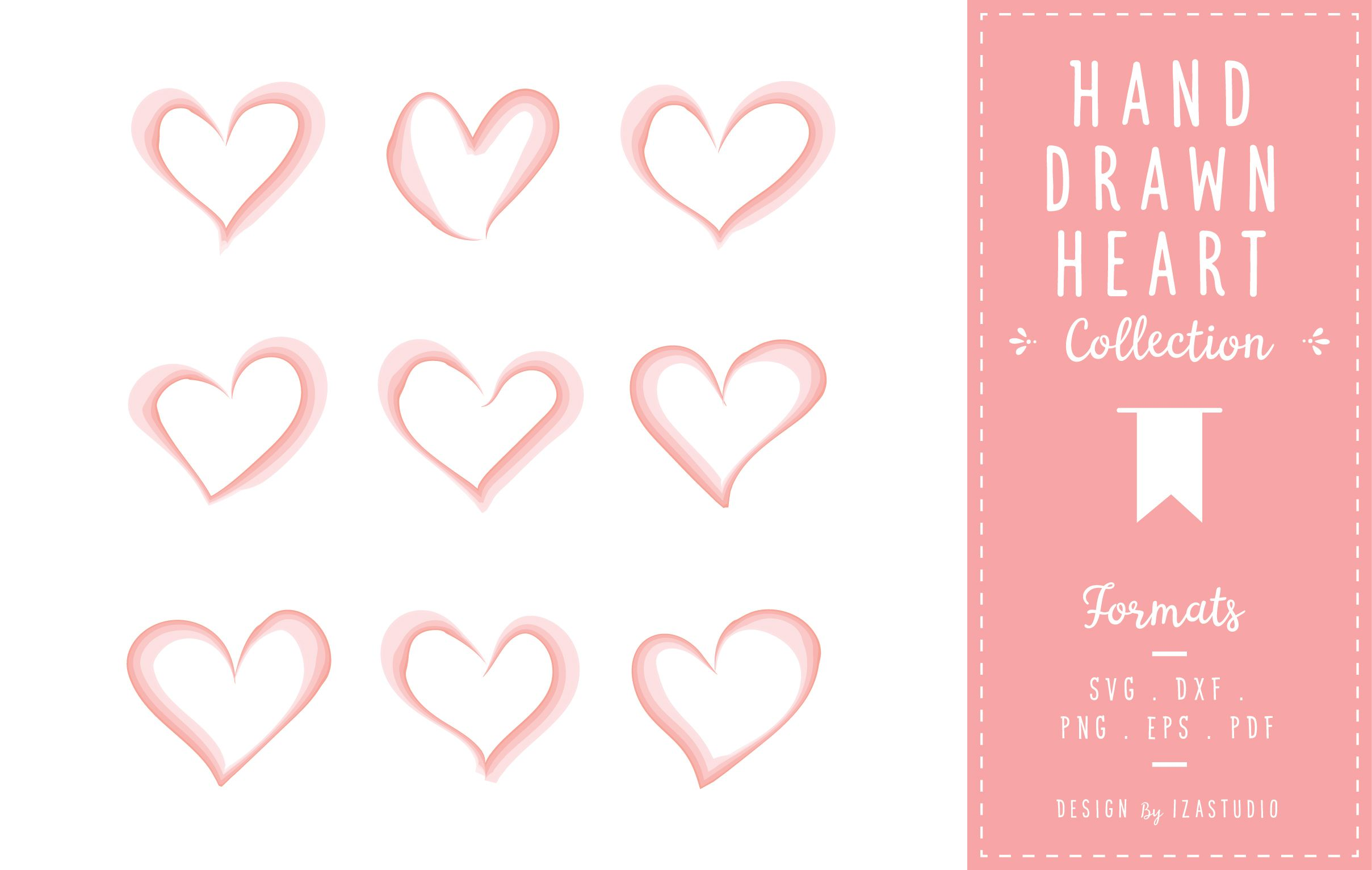 Hand Drawn Heart Collection How to draw hands, Heart