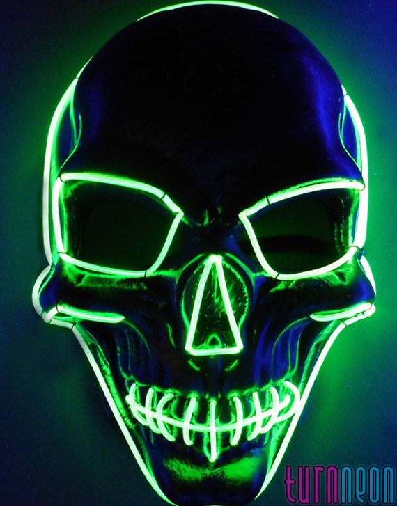 Light Up Glow Neon Green Skull EL Wire LED Mask For ...