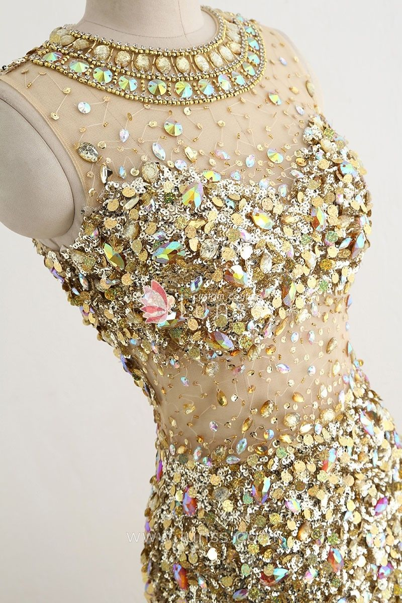 c20799c308a1 Luxurious Heavily Crystal Beaded Rhinestone Illusion Gold Long Prom ...