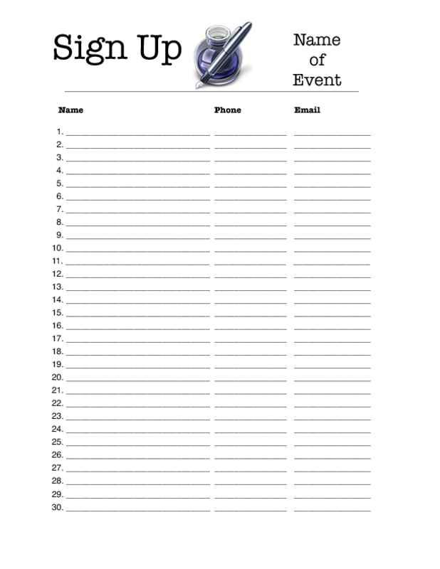 Free Printable Sign Up Sheets Signup sheets Pinterest – Sign Up Sheet Printable