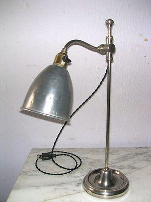 Ancienne lampe de bureau laiton chrom et tulipe aluminium home lampe de bureau bureau laiton - Lampe de bureau ancienne en laiton ...