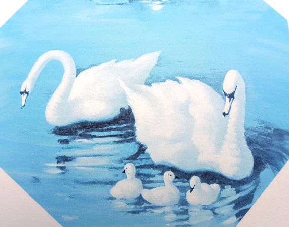 SALE 25% OFF Vintage Swan Print/ 80s Print/ von DameWhoFrames