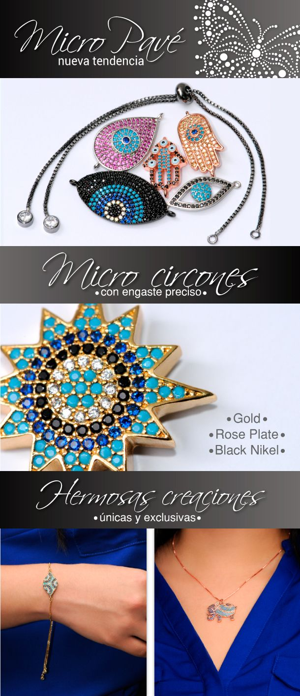 Hechoamano accesorios micropavé circones moda girls pulseras