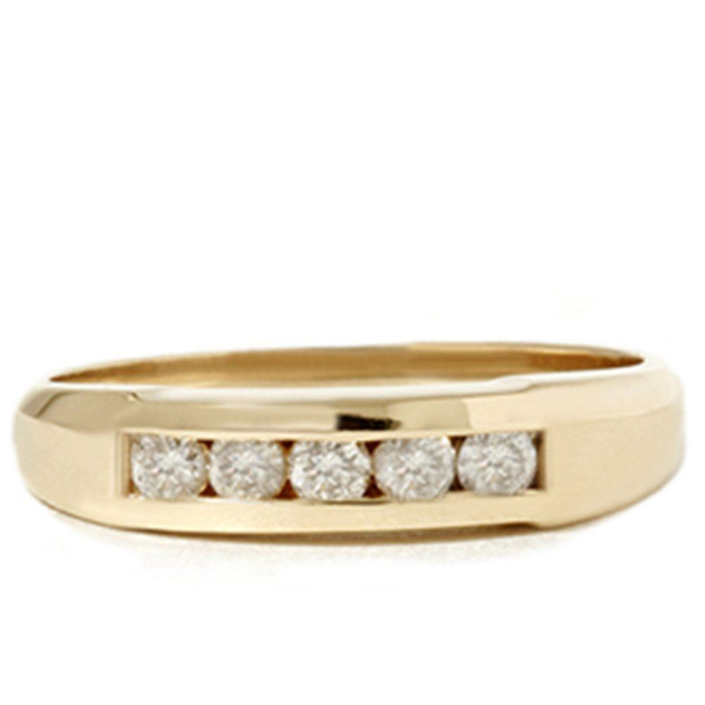 1/2ct Mens 14K Yellow Gold Round Diamond Wedding Ring. Lifetime Warranty. Gift Box Included.
