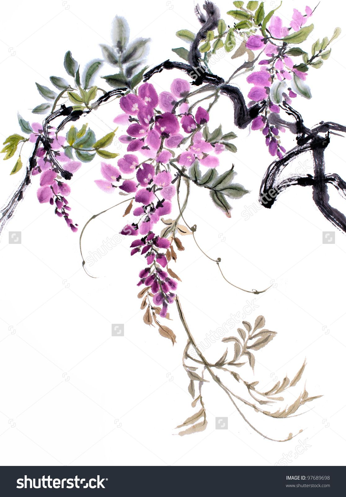 Original Art Chinese Watercolor Painting Of Wisteria Chinese Painting Flowers Flower Painting Floral Painting