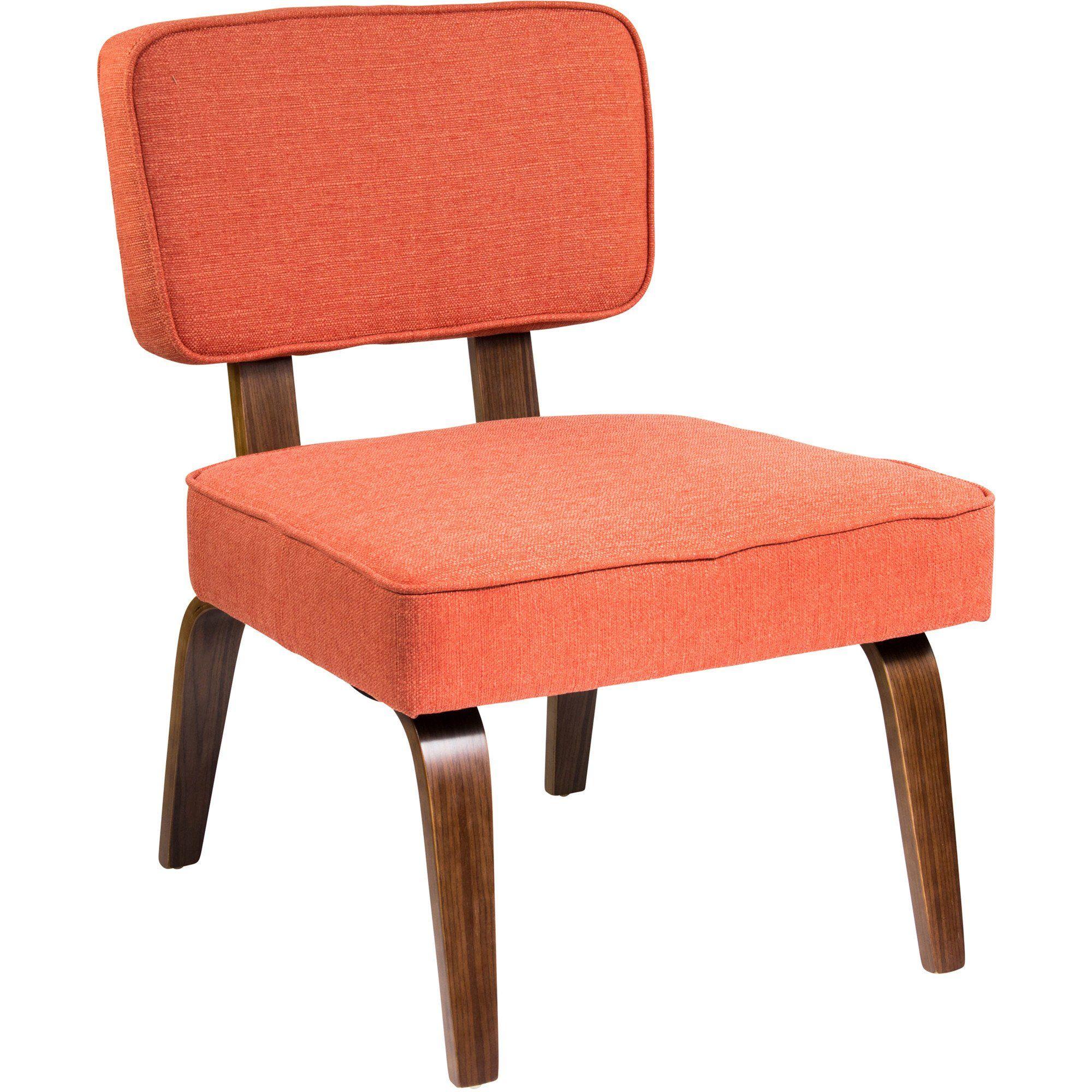 Deep Accent Cheap Chair: Nunzio Mid-Century Modern Accent Chair, Deep Orange Fabric