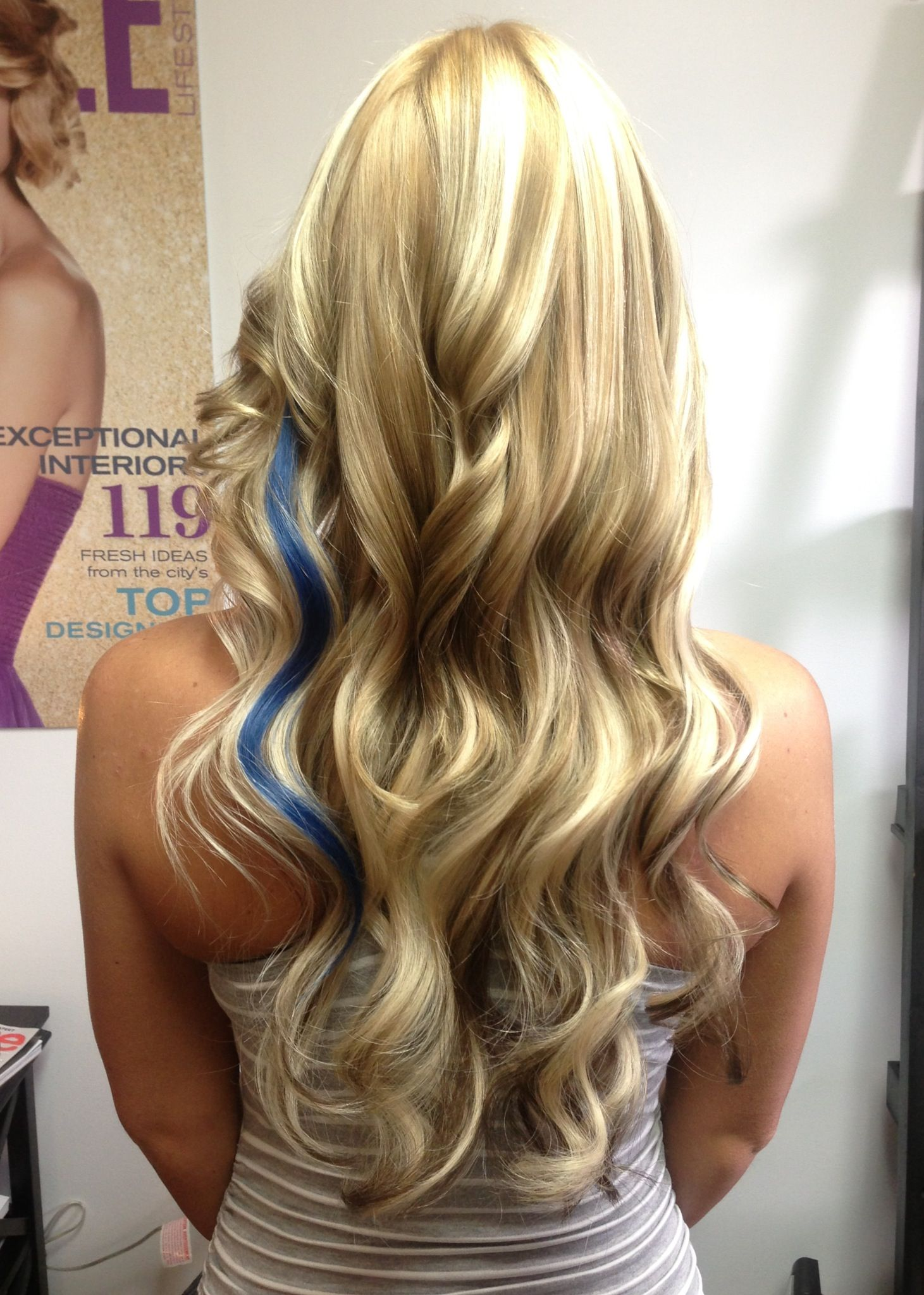 Long Blonde Hair With Lowlights And A Pop Of Color Hair Styles