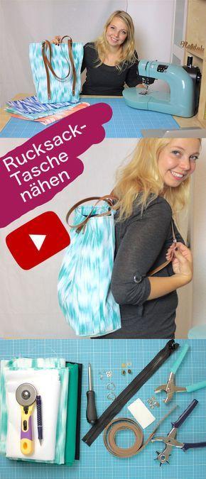 Rucksack-Tasche nähen mit Lederriemen und Nieten - kostenlose ...
