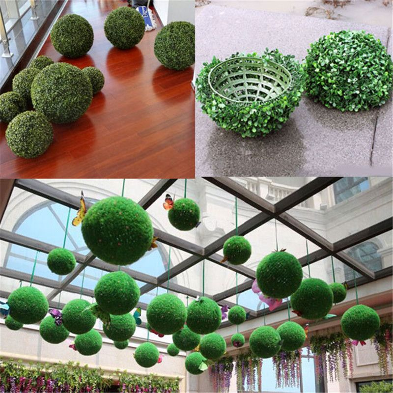 2017 New 5PCS 5inch Artificial Grass Topiary Balls Out/Indoor Hanging Ball  Wedding Party Home