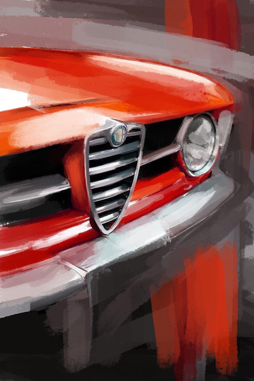 Alfa Romeo GTV, classic car large wall art. Canvas print or a paper giclee print