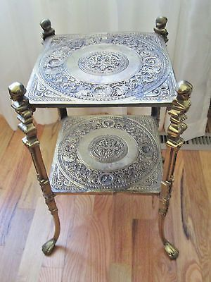 Antique French Brass 2 Tier Shelf Plant Stand Table Cherubs Busts Claw Feet Relk S Reliks