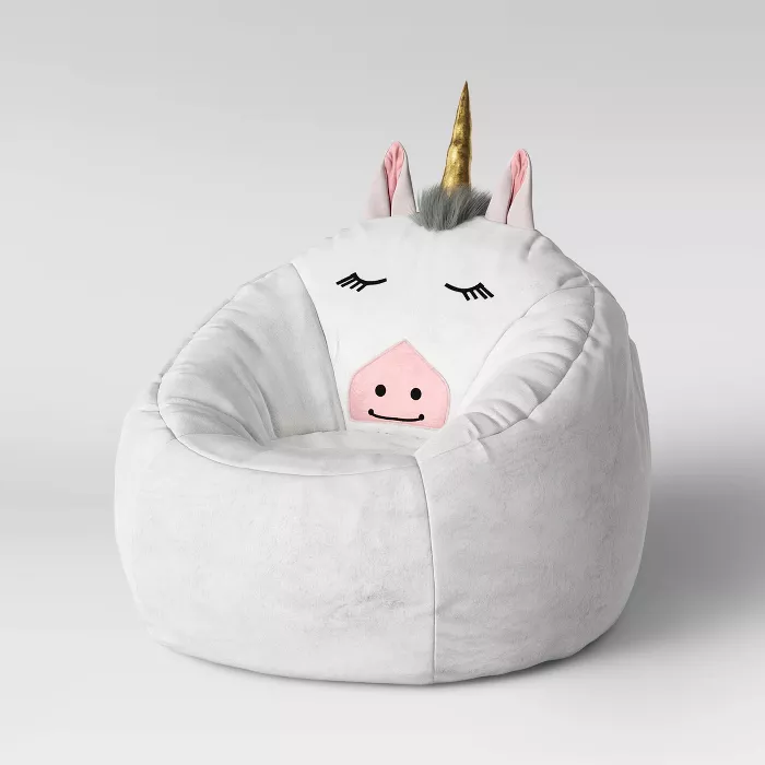 Character Bean Bag Pouf White Unicorn - Pillowfort™ : Target