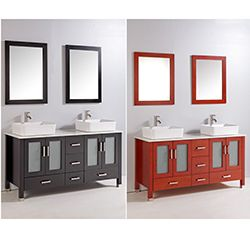 59 Inch Double Ceramic Sink Bathroom Vanity Set Ideas For The