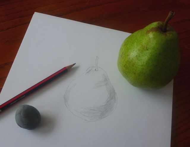 Here is an easy drawing lesson for beginners. Start learning to draw with this these easy drawing lessons. A piece of fruit is a good subject for a beginner artist, so we'll start with drawing a pear in graphite pencil. Give it a try!