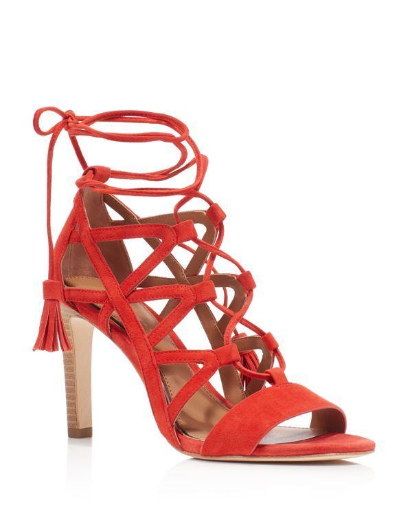 Elie Tahari Hurricane Caged Lace Up High Heel Sandals