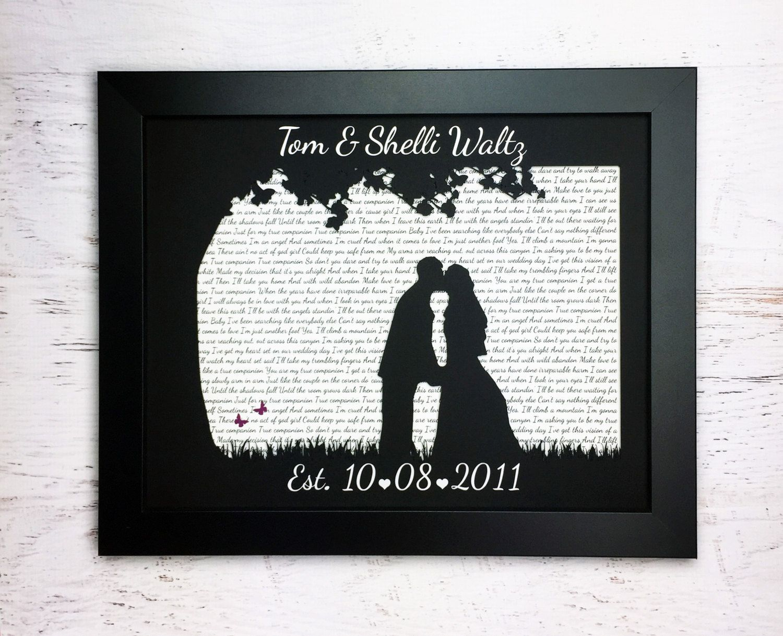 First anniversary gift wedding song lyric art silhouette art