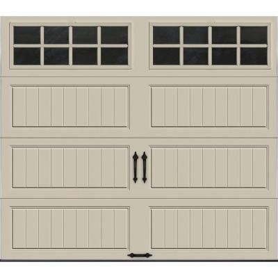 Clopay Gallery Collection 8 Ft X 7 Ft 6 5 R Value Insulated Desert Tan Garage Door With Sq24 Window Gr1lp Rt Sq24 The Home Depot Garage Doors White Garage Doors Garage Door Design