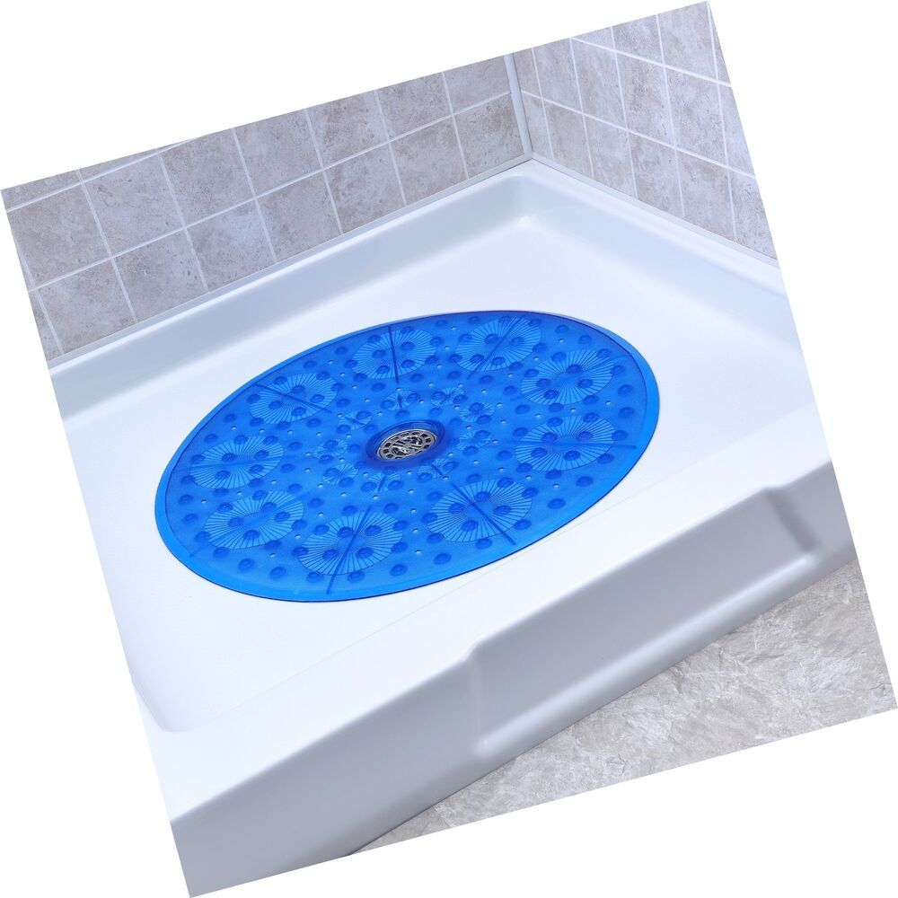 Slipx Solutions Blue Round Shower Stall Mat Provides Generous