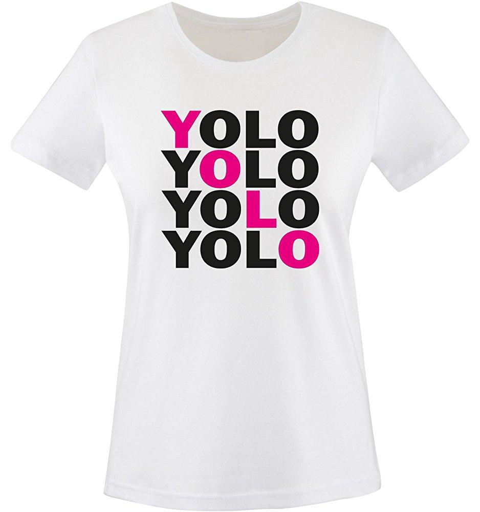 Comedy Shirts Women's Yolo Five TShirt XS White/Black