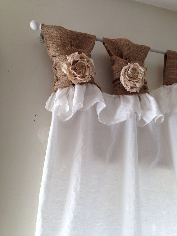 White Linen Wide Ruched Tabs Curtains Tea By Rusticchictogether 85 00 Daughters Room Shabby Chic Curtains Ruffle Curtains Diy Curtains