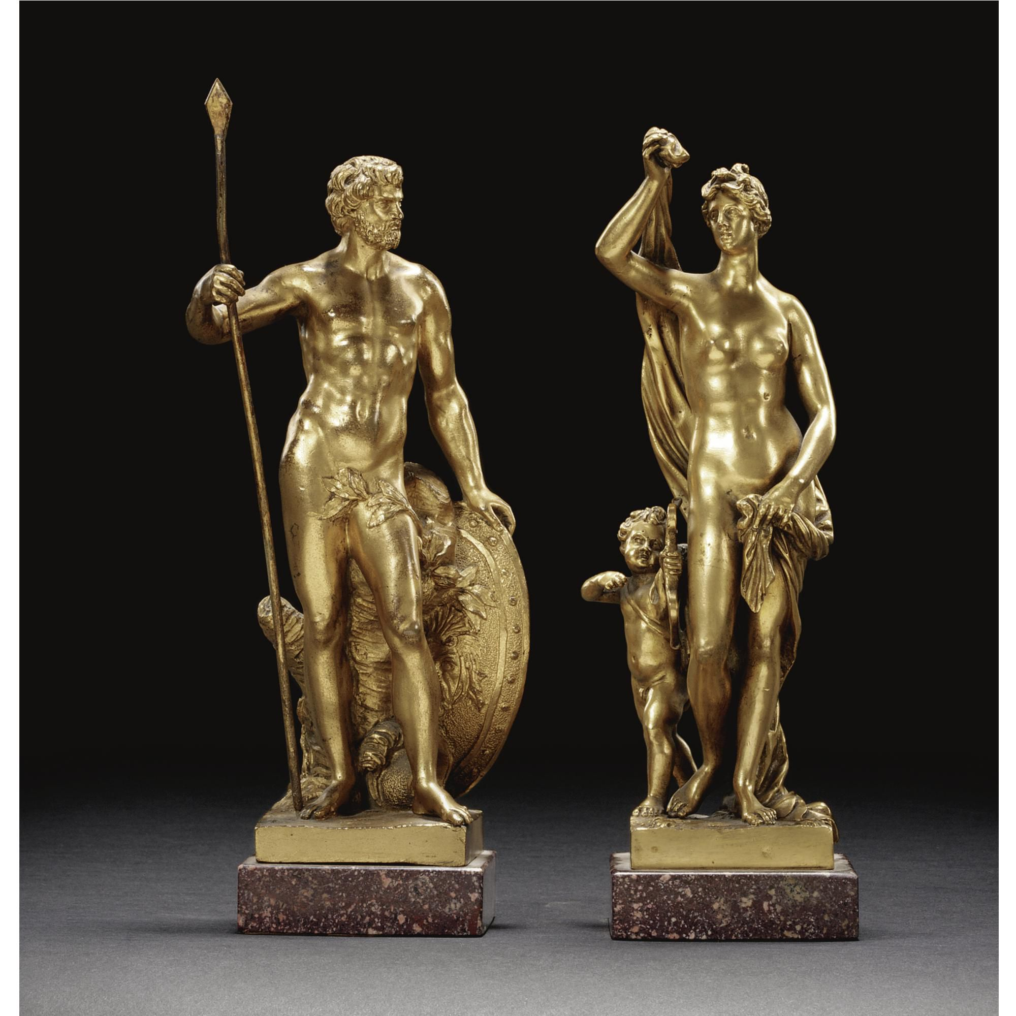 AFTER SEBASTIAN SLODTZ (1655-1726)  FRENCH, LATE 18TH CENTURY  A PAIR OF GILT FIGURES OF MARS AND VENUS