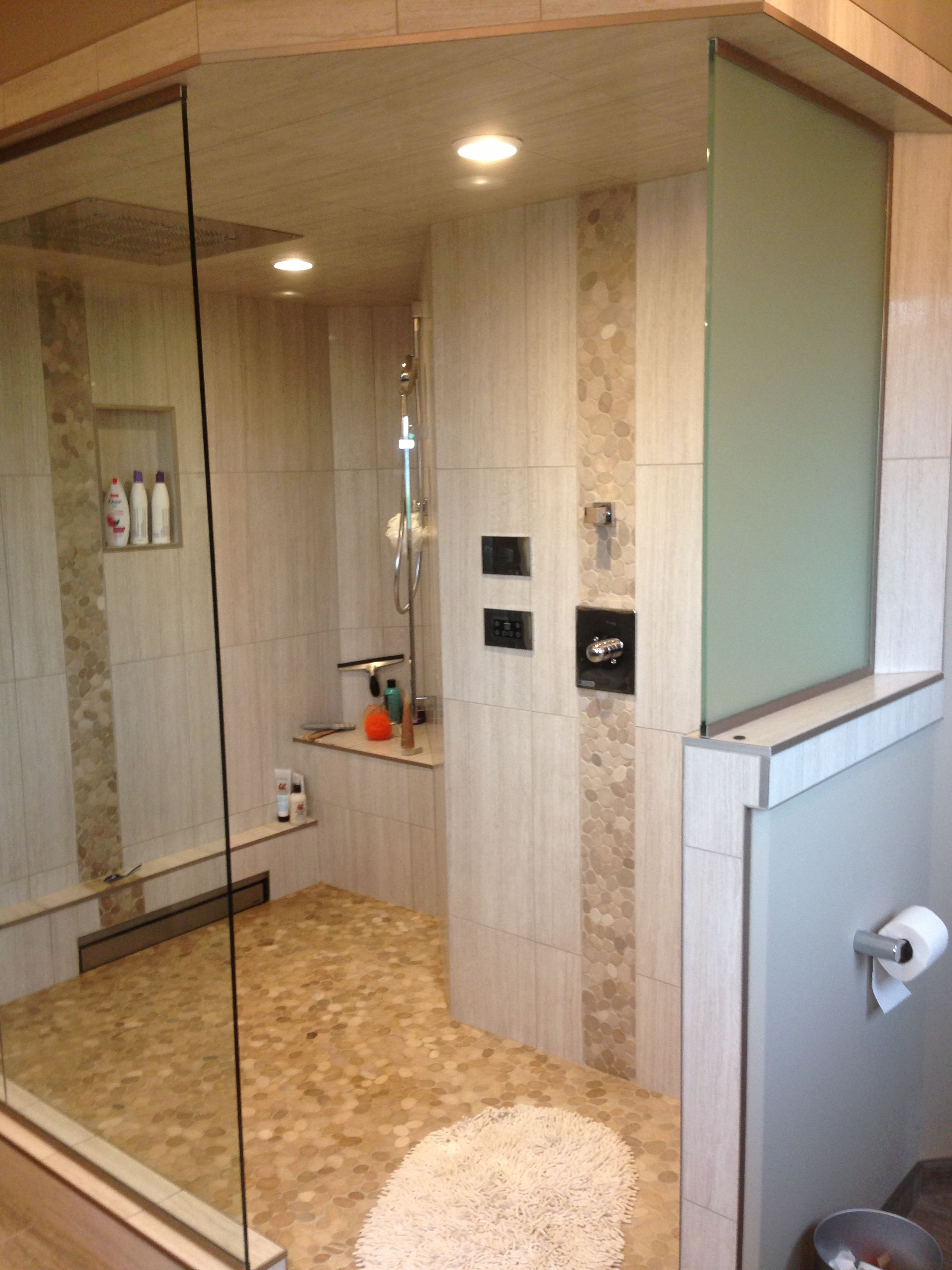 Frameless Shower Door And Panel Installed With Clips Instead Of Channel Clear Glass And Polished Chrome Hardwa Shower Room Frameless Shower Doors Shower Doors