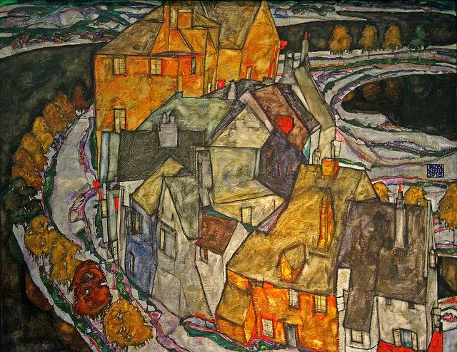 ۩۩ Painting the Town ۩۩ city, town, village house art - Egon Schiele Happy Birthday