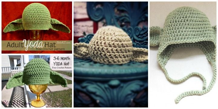 Crochet Yoda Hat Pattern Free | Crafts | Pinterest | Anleitungen und ...