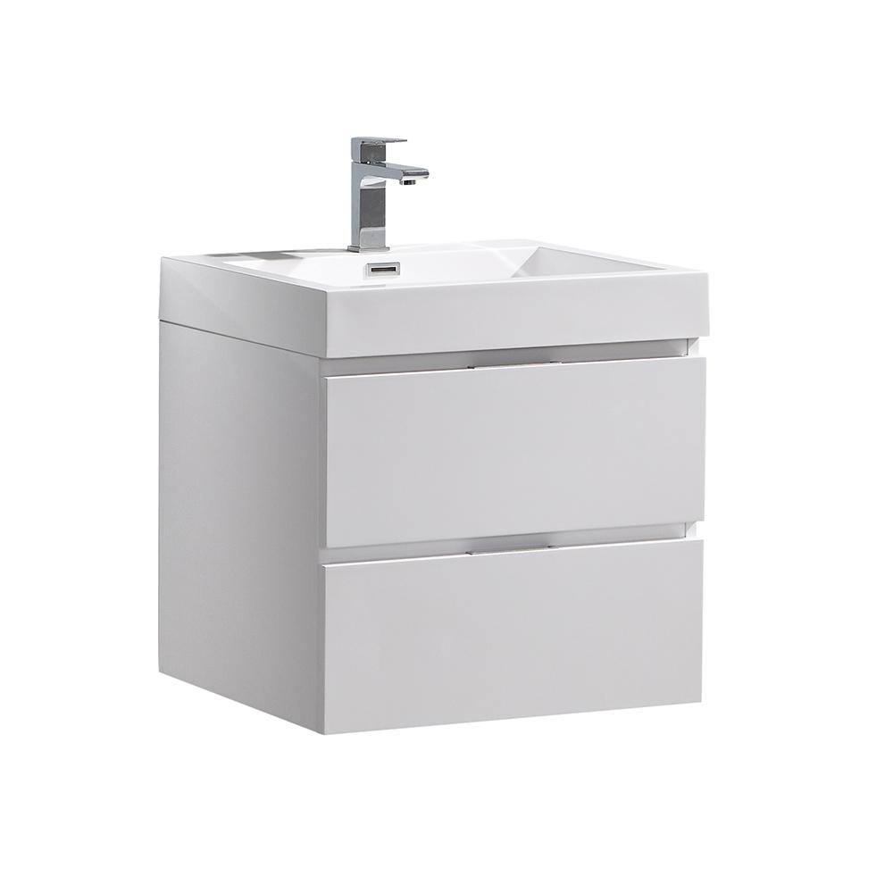 Fresca Valencia 24 In W Wall Hung Bathroom Vanity In Glossy White