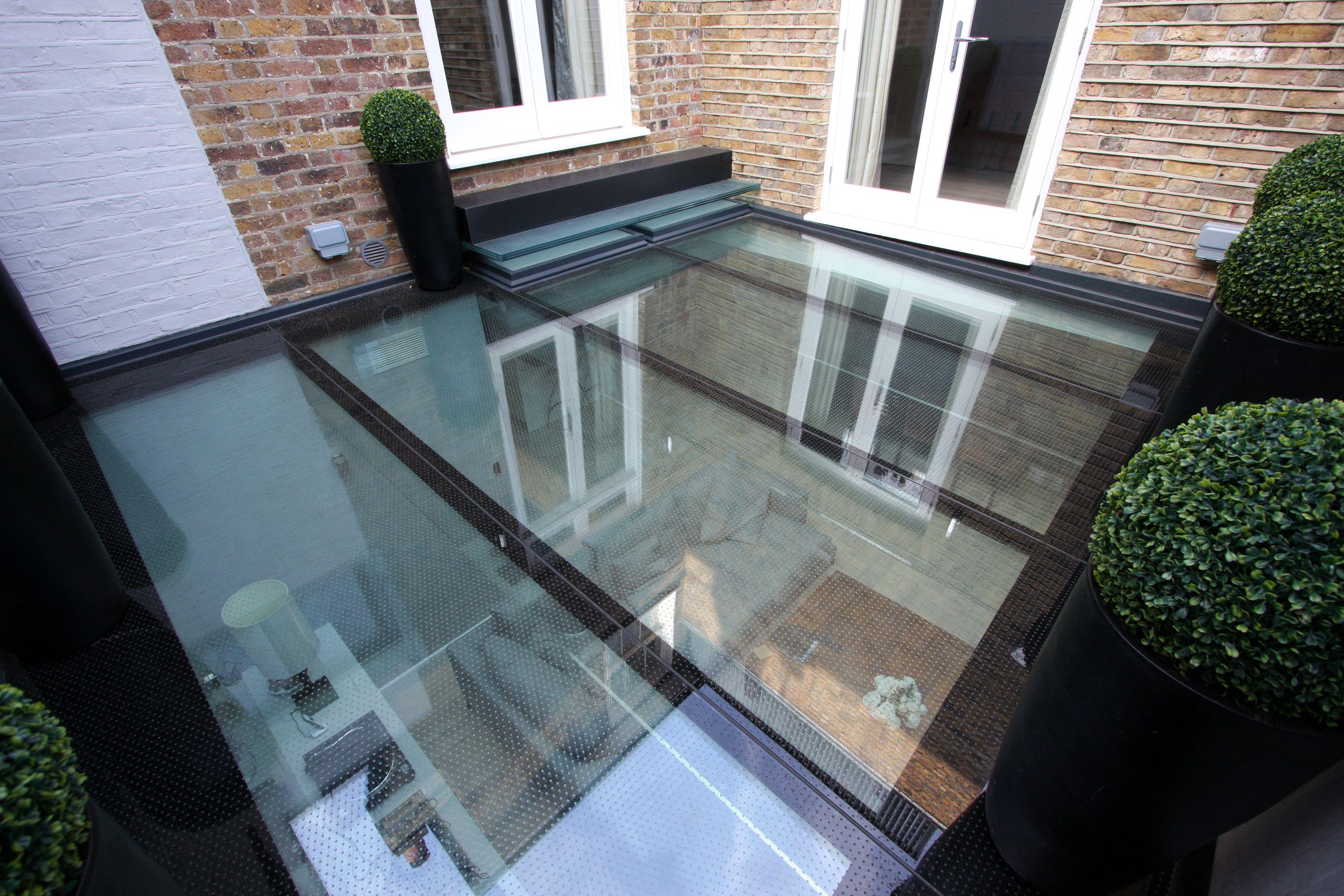 Walk On Glass Floor Above Living Space With Ceramic Frit Anti Slip Coating Iqglassuk