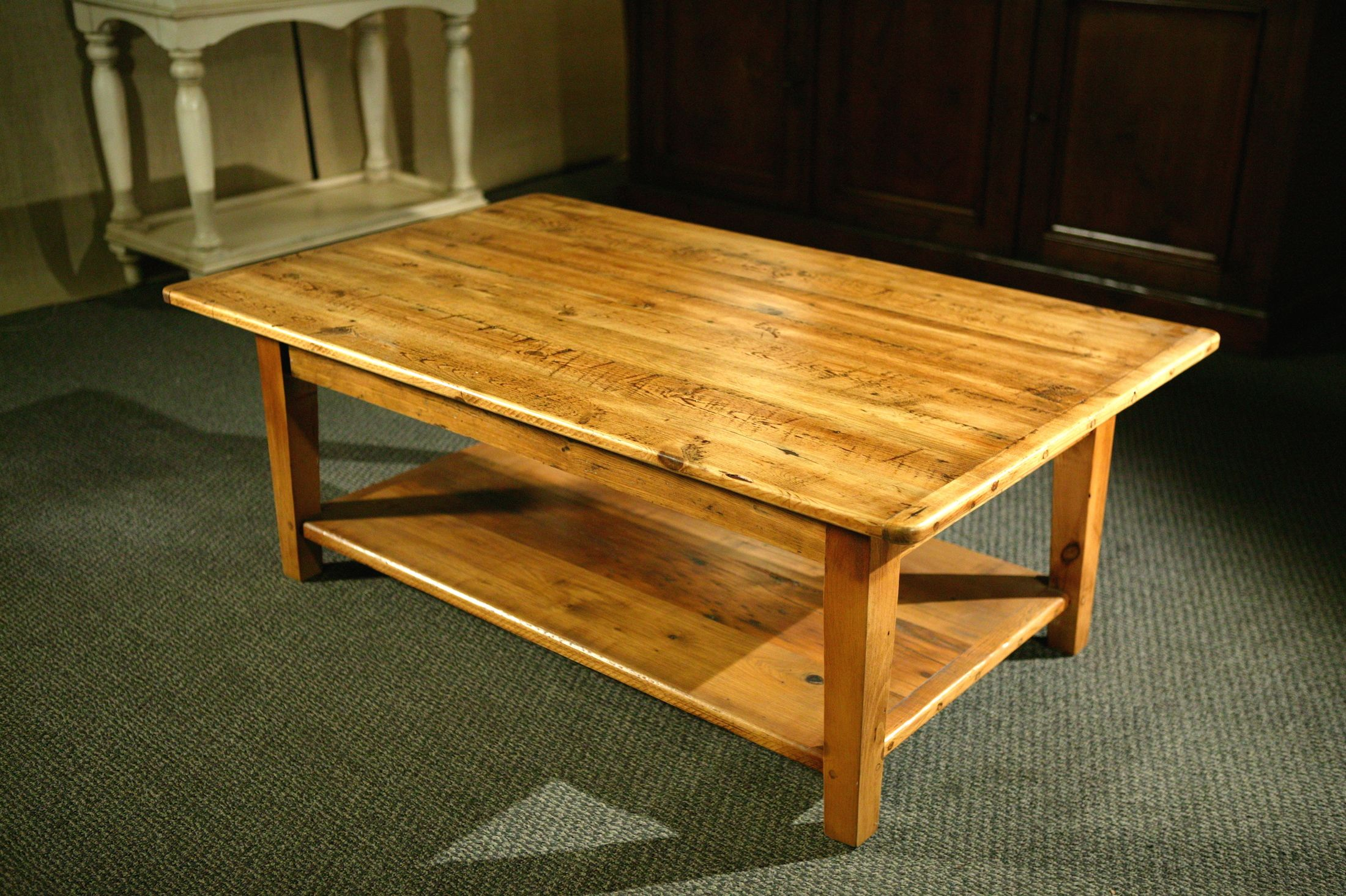 Coffee Table With Shelf Tapered Legs In Golden Brown Finish With