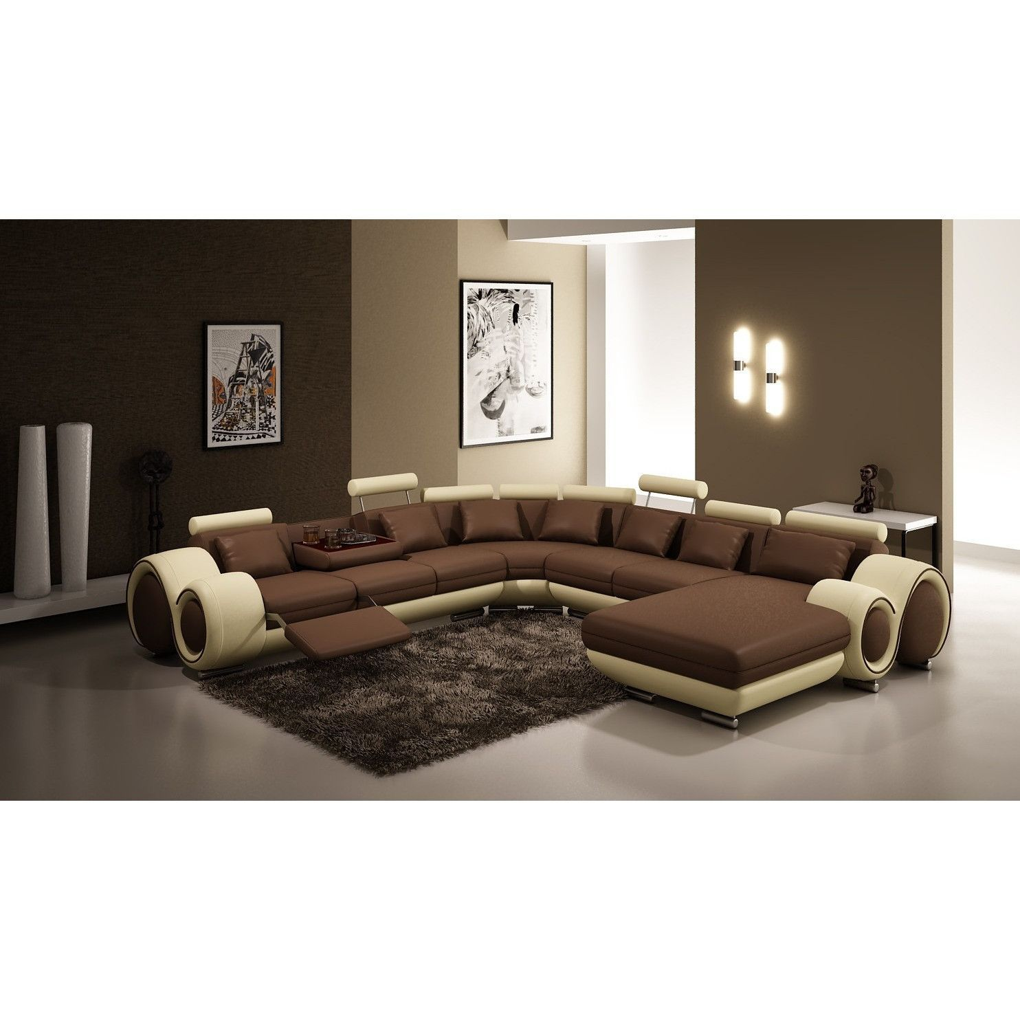Casa 4084 Contemporary Brown and Beige Bonded Leather Sectional Sofa