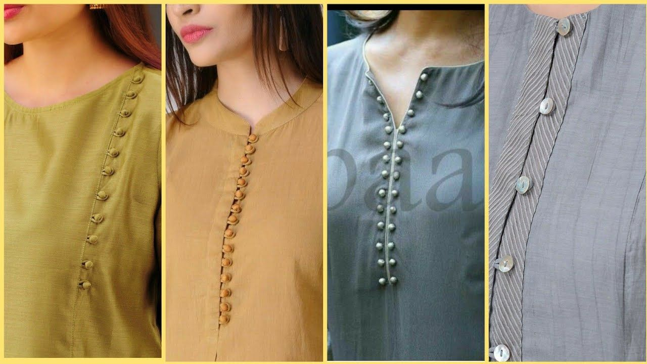 50 Beautiful Neck Designs With Buttons For Kurti Kameez Youtube Kurti Neck Designs Trendy Blouse Designs Blouse Neck Designs