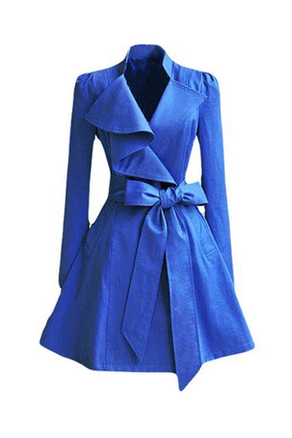 Irregular Lapel Blue Trench Coat