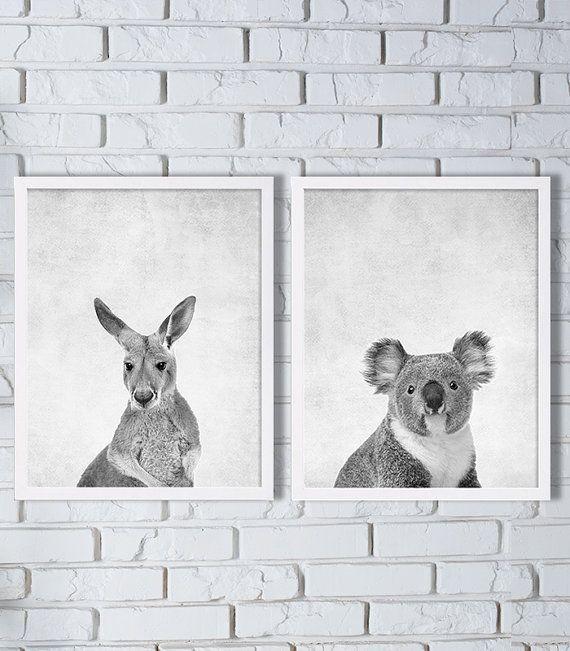 Australia Animal Prints Two Print Set Kangaroo Koala Bear Art Grey Down Under Modern Decor Nursery