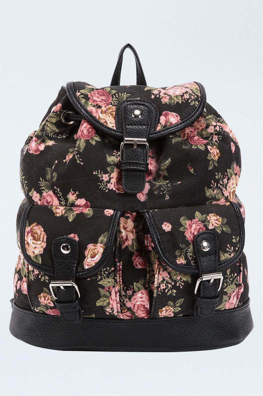 Floral Print Backpack Tallyweijl Gift Http Www Tally Weijl Net P Bags Purses Schwarzer Rucksack Mit Blumen Muster Abafle Rucksack Schwarz Schwarz Muster