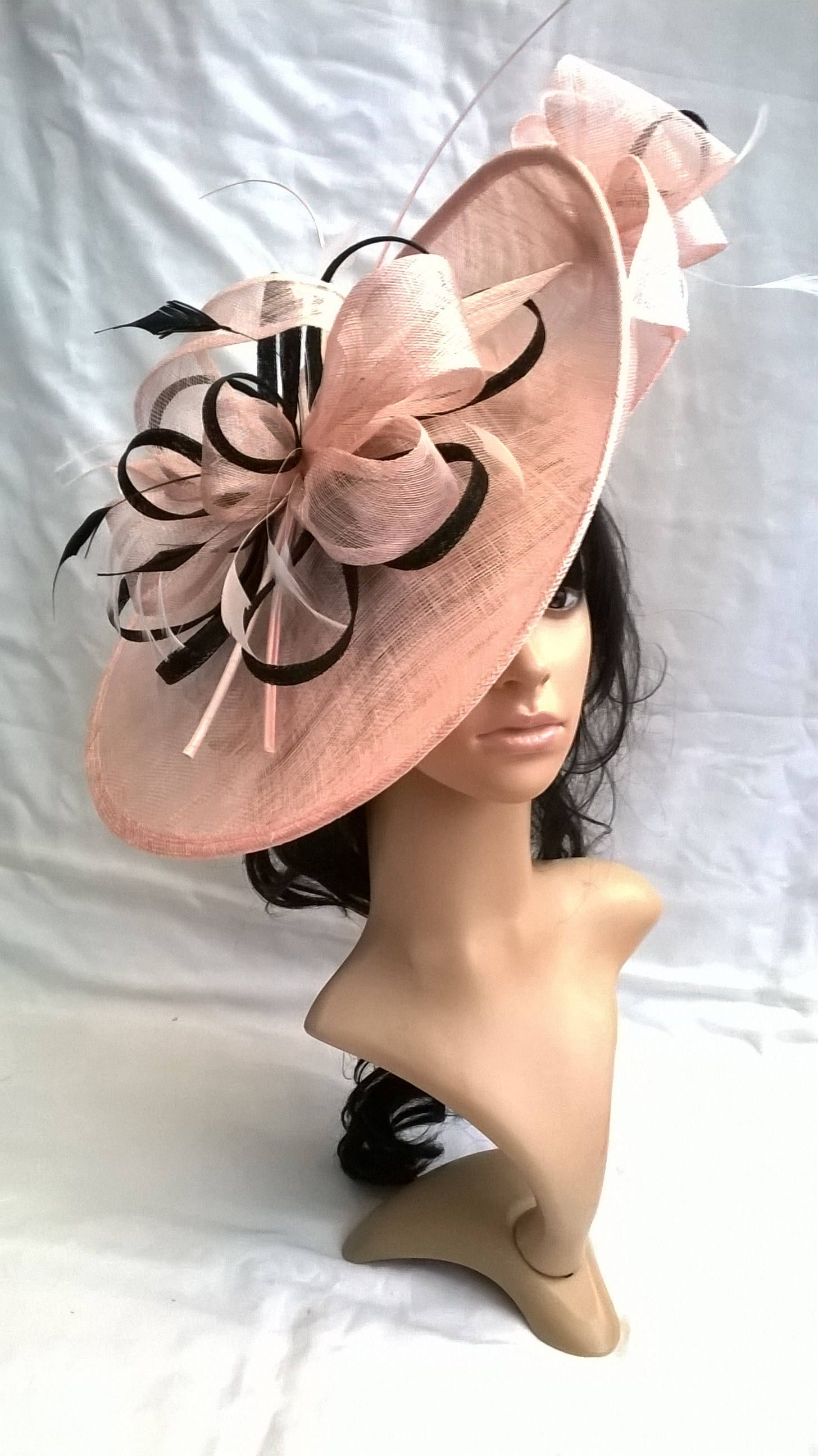 Nude Blush   Black Hatinator..Stunning Sinamay Fascinator Hat on a  Headband..Hatinator fd1a2ddab20a