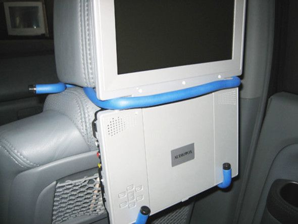 make your own portable dvd player holder for your car. Black Bedroom Furniture Sets. Home Design Ideas