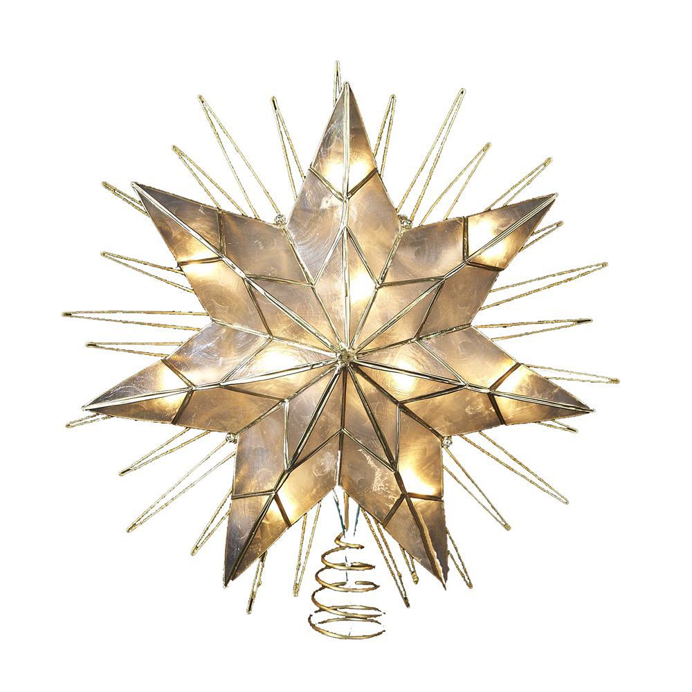 7-Point Natural Capiz Star Lighted Treetop