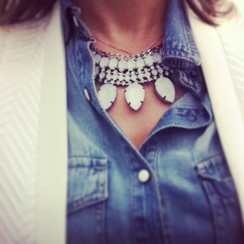 Necklace and denim shirt